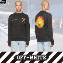 Off-White Crew Neck Pullovers Cashmere Long Sleeves Plain Handmade