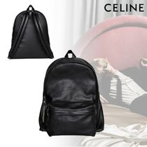 CELINE Unisex Calfskin Street Style A4 Plain Backpacks