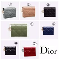 Christian Dior Leather Folding Wallet Logo Folding Wallets