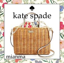 kate spade new york Flower Patterns Blended Fabrics Purses Straw Bags