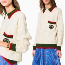 Burberry Cable Knit Casual Style Cashmere Bi-color Long Sleeves Plain