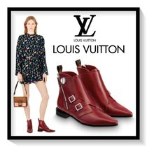 Louis Vuitton Rubber Sole Casual Style Blended Fabrics Plain Leather