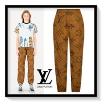 Louis Vuitton Monogram Casual Style Long Oversized Wide Leg Pants