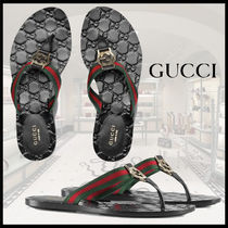 GUCCI Monogram Rubber Sole Leather Footbed Sandals Flat Sandals