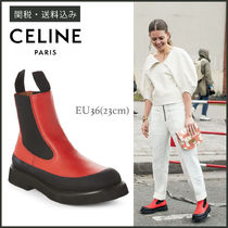 CELINE Round Toe Casual Style Plain Leather Chelsea Boots