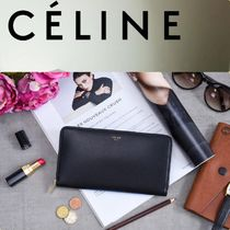 CELINE Zipped Unisex Bi-color Long Wallets