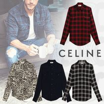 CELINE Zebra Patterns Street Style Long Sleeves Plain Shirts