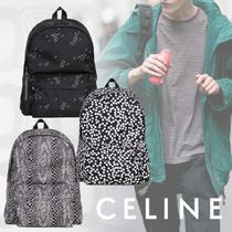 CELINE Unisex Nylon Street Style A4 2WAY Python Backpacks