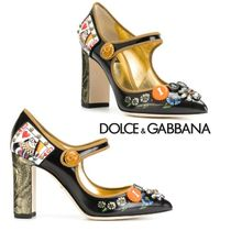 Dolce & Gabbana Leather Pointed Toe Pumps & Mules