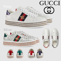 GUCCI Stripes Plain Toe Rubber Sole Casual Style Low-Top Sneakers
