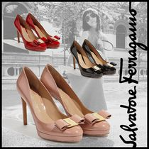 Salvatore Ferragamo Platform Round Toe Leather Elegant Style
