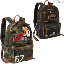 Ralph Lauren Tartan Camouflage Unisex Street Style A4 Leather Backpacks