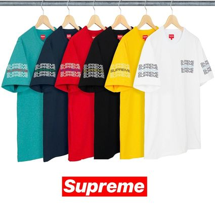 Supreme Crew Neck Crew Neck Street Style Plain Cotton Short Sleeves