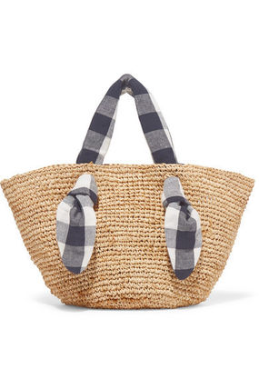 Blended Fabrics Street Style A4 Plain Leather Straw Bags