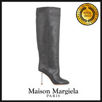 Maison Martin Margiela Plain Toe Plain Leather Elegant Style High Heel Boots