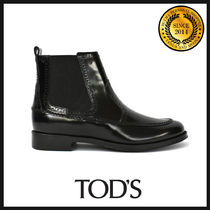 TOD'S Round Toe Casual Style Leather Chelsea Boots