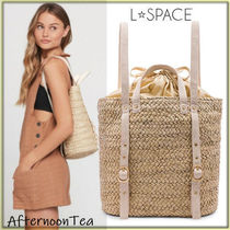 L Space 2WAY Plain Straw Bags