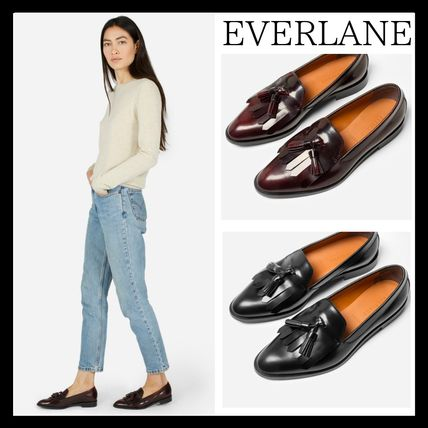 Casual Style Tassel Plain Leather Loafer Pumps & Mules