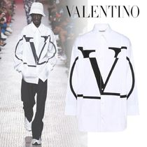 VALENTINO Long Sleeves Cotton Oversized Logo Shirts