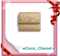 CHANEL ICON Leather Small Wallet Folding Wallets