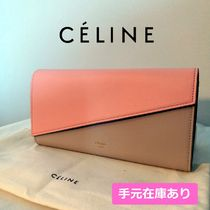 CELINE Bi-color Leather Long Wallets