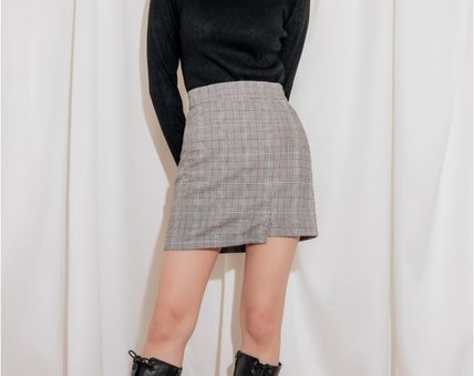 Pencil Skirts Short Other Plaid Patterns Casual Style Co-ord