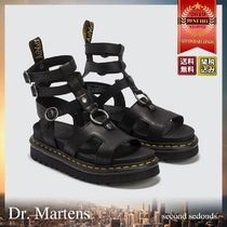 Dr Martens Open Toe Platform Casual Style Studded Plain Leather