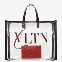 VALENTINO Studded Plain Crystal Clear Bags Totes