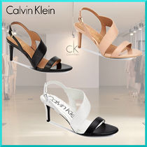 Calvin Klein Open Toe Plain Leather Pin Heels Elegant Style