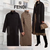 FENDI Other Check Patterns Wool Medium Elegant Style Coats