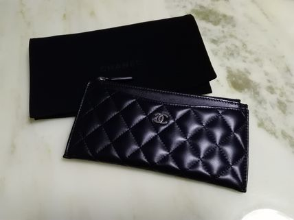 Unisex Lambskin Long Wallets