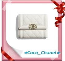 CHANEL BOY CHANEL Leather Folding Wallets