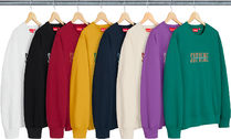 Supreme Crew Neck Unisex Street Style Long Sleeves Cotton