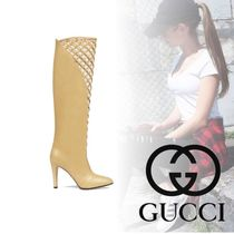 GUCCI Plain Toe Plain Leather High Heel Boots