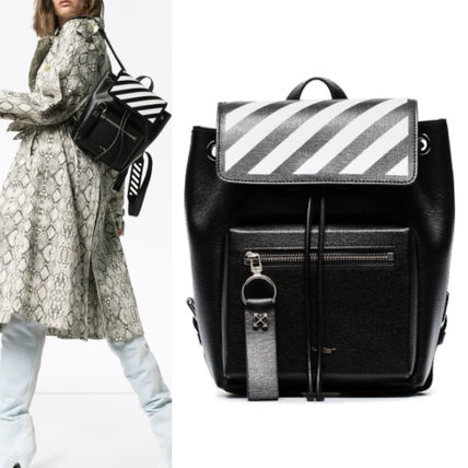 Stripes Casual Style Unisex Plain Leather Backpacks