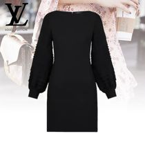 Louis Vuitton Silk Long Sleeves Plain Dresses