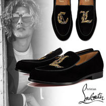 Christian Louboutin Moccasin Suede Plain With Jewels Loafers & Slip-ons