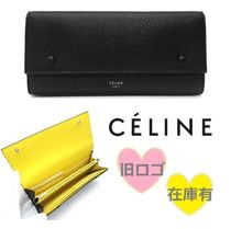 CELINE Flap Plain Leather Long Wallets