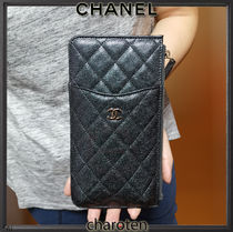 CHANEL MATELASSE Unisex Calfskin Plain Wallets & Small Goods
