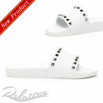 VALENTINO Open Toe Rubber Sole Casual Style Studded Plain Shower Shoes