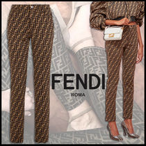 FENDI Monogram Cotton Long Elegant Style Skinny Pants