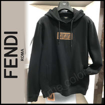 FENDI Monogram Street Style Long Sleeves Plain Cotton Sweatshirts