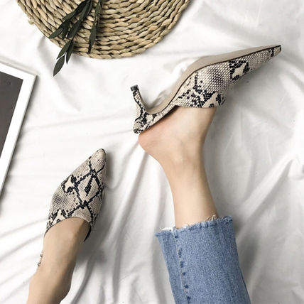 Casual Style Faux Fur Pin Heels Python Mules Heeled Sandals