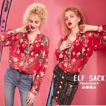 ELF SACK Flower Patterns Casual Style Chiffon Street Style