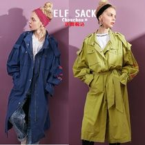 ELF SACK Casual Style Wool Street Style Plain Long Trench Coats