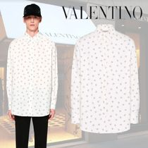 VALENTINO Street Style Long Sleeves Cotton Oversized Logo Shirts