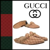 GUCCI Princetown Unisex Fur Blended Fabrics Loafers & Slip-ons