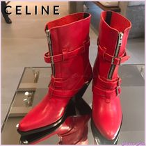 CELINE Casual Style Plain Leather Chunky Heels