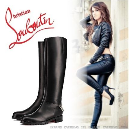 first rate 4a584 c6c37 Christian Louboutin 2019 SS Plain Leather Flat Boots