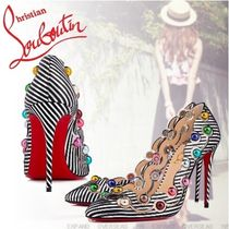 Christian Louboutin Stripes PVC Clothing With Jewels High Heel Pumps & Mules